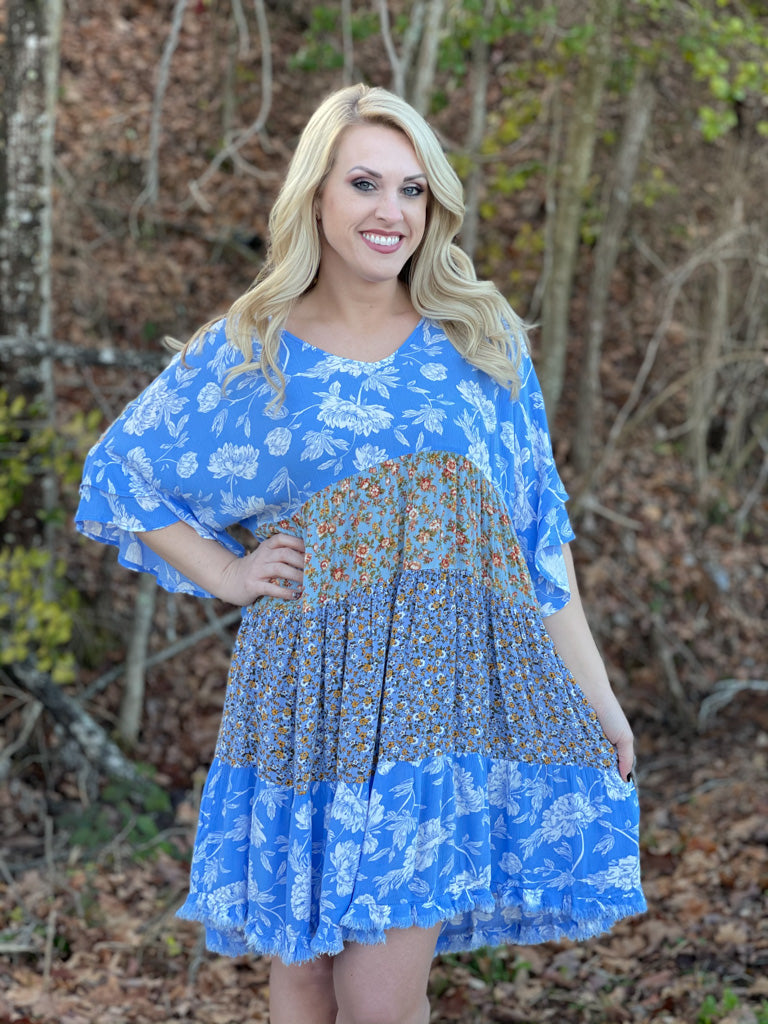 blue floral tiered dress A61
