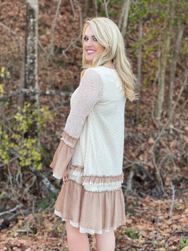 ivory and mocha lace dress A38