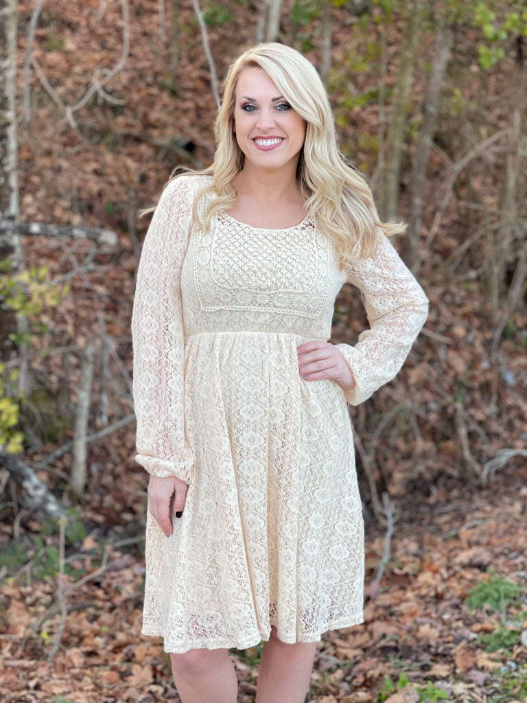 long sleeve soft lace dress A28