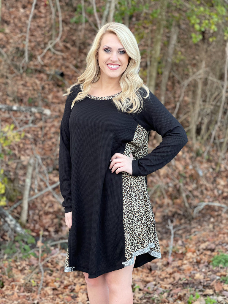 black and leopard waffle dress F46