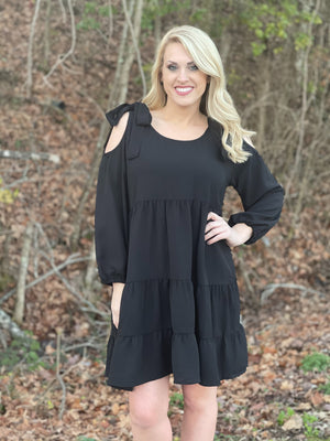 black cold shoulder dress B52