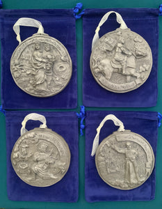 *NEW* 2020 Nickel Silver Set of Four Louisiana Saints Ornaments
