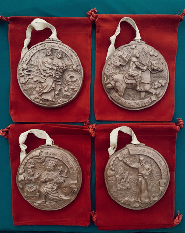 *NEW* 2020 Bronze Set of Four Louisiana Saints Ornaments