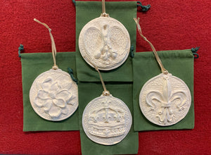 2019 Golden White Set of Four Louisiana Ornaments