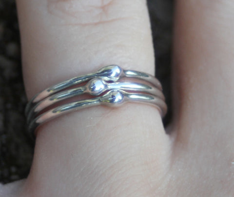 Drops of Silver stacking rings