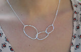 Sterling Silver Organic Ovals on Cable Chain