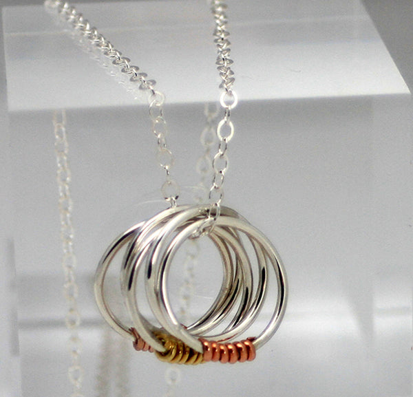 5 Ring Sterling Silver Necklace