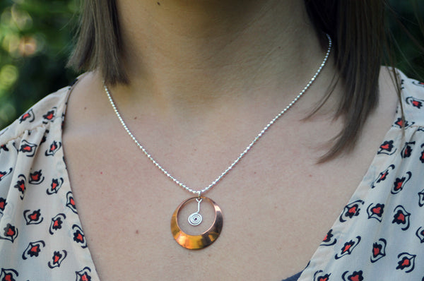 Copper and Sterling Dome Necklace, Handmade