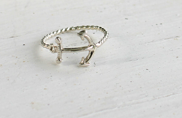 Anchor's Away - Sterling Silver Anchor Ring