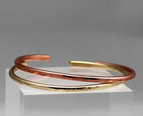 Copper or Brass Hammered Cuff Bracelet