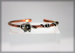 Sterling Silver flower and vine copper cuff bracelet