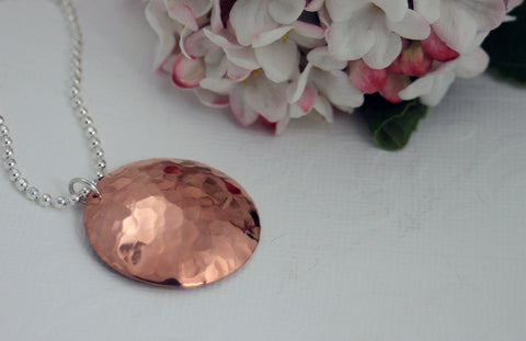 Copper Dome Necklace on Sterling Silver Chain