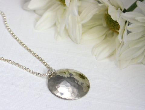 Sterling Silver Hand Hammered Dome Necklace