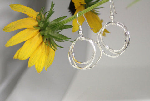 Sterling Silver Organic Circles Earrings