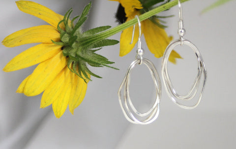 Sterling Silver Organic Ovals Earrings