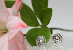 Sterling Silver Swirl Post Earrings, Studs