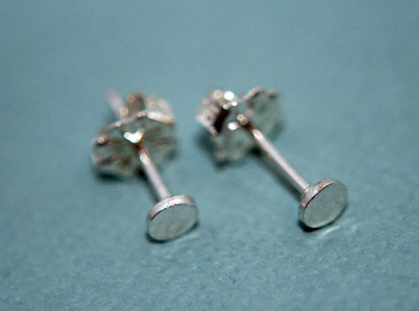 Sterling silver tiny hand hammered post earrings