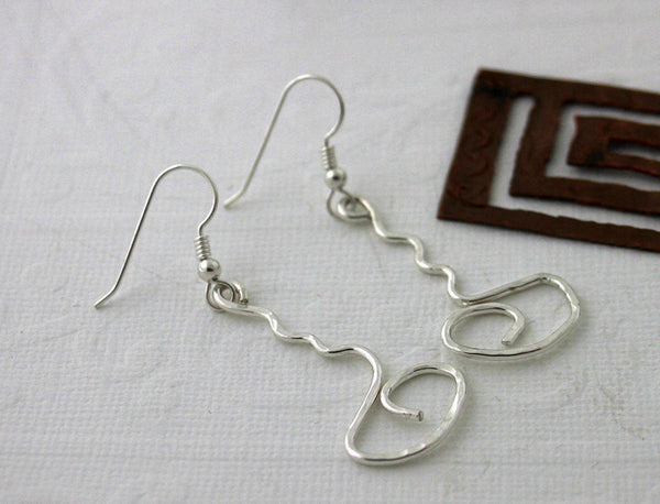 Sterling Silver Squiggly Dangle Earrings