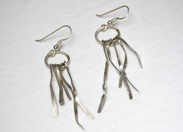 Sterling Silver Shreds Dangle Earrings