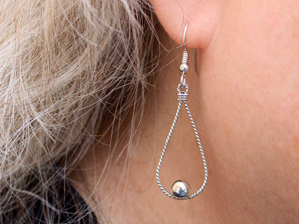 Sterling Silver Teardrop with Ball Dangle Earring