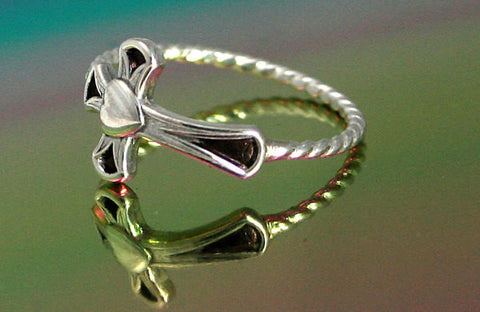 Sideways Cross with Heart Ring - Sterling Silver