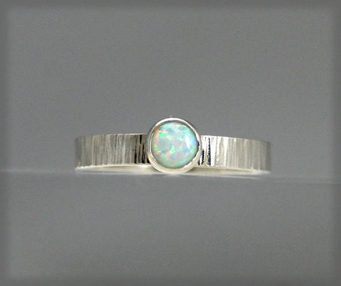 Sterling Silver Hand Hammered Ring with Lab Grown Opal