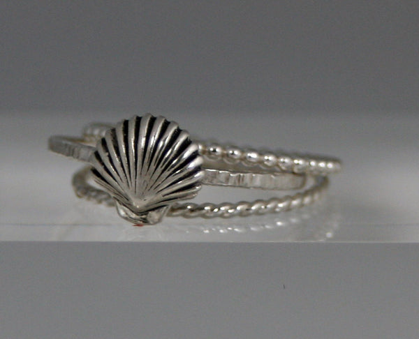 Sterling Silver Shell Ring and Two Stacking Rings