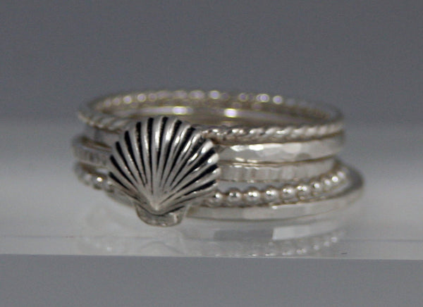 Sterling Silver Shell and 4 stacking rings
