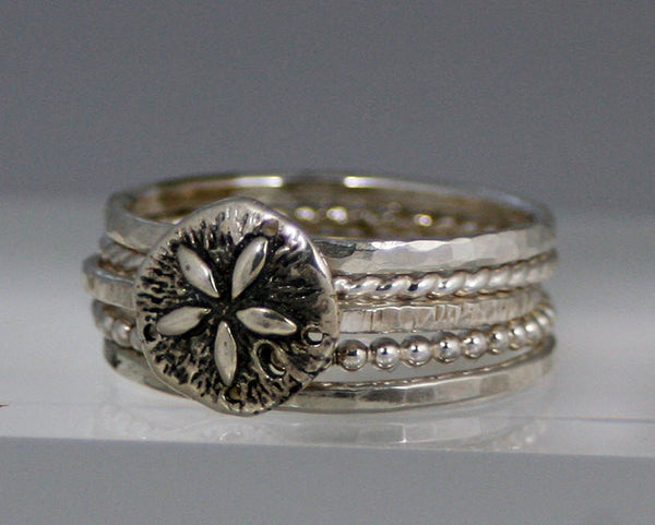 Sterling Silver Sand Dollar and 4 Stacking Ring Set