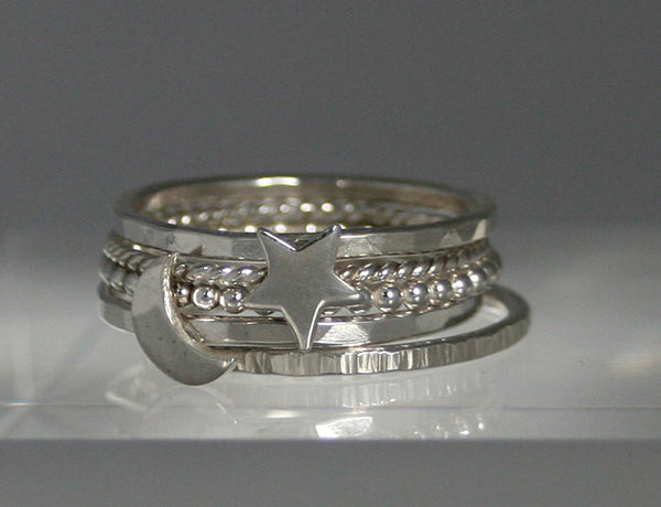 Sterling Silver Moon Ring, Star Ring and 3 Stacking Rings