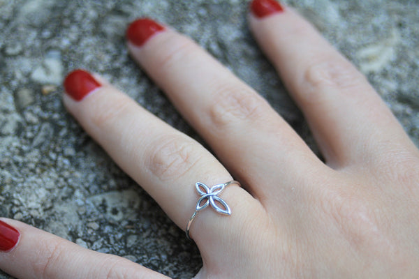 Infinity Cross Ring, sterling silver