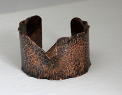 Large hammered copper cuff
