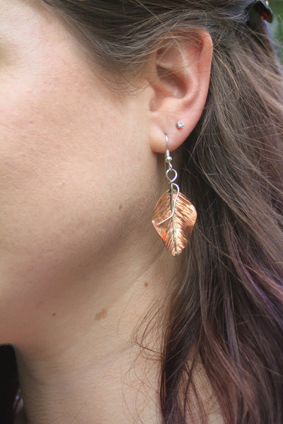 Copper and Sterling Leaf Earrings