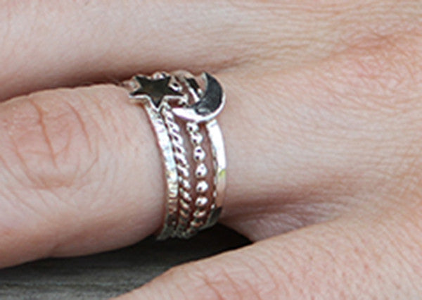 Sterling Silver Crescent Moon Ring, Star Ring and Two Stacking Rings.