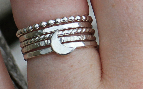 Sterling Silver Crescent Moon Ring and 4 stacking rings