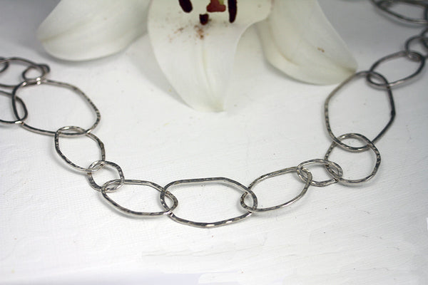 Sterling Silver Organic Ovals Necklace