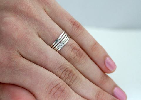Set of Five Sterling Silver Stacking Rings.