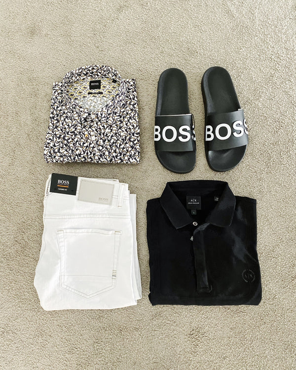 Chanclas Boss Hugo Boss negras para hombre en elite addict