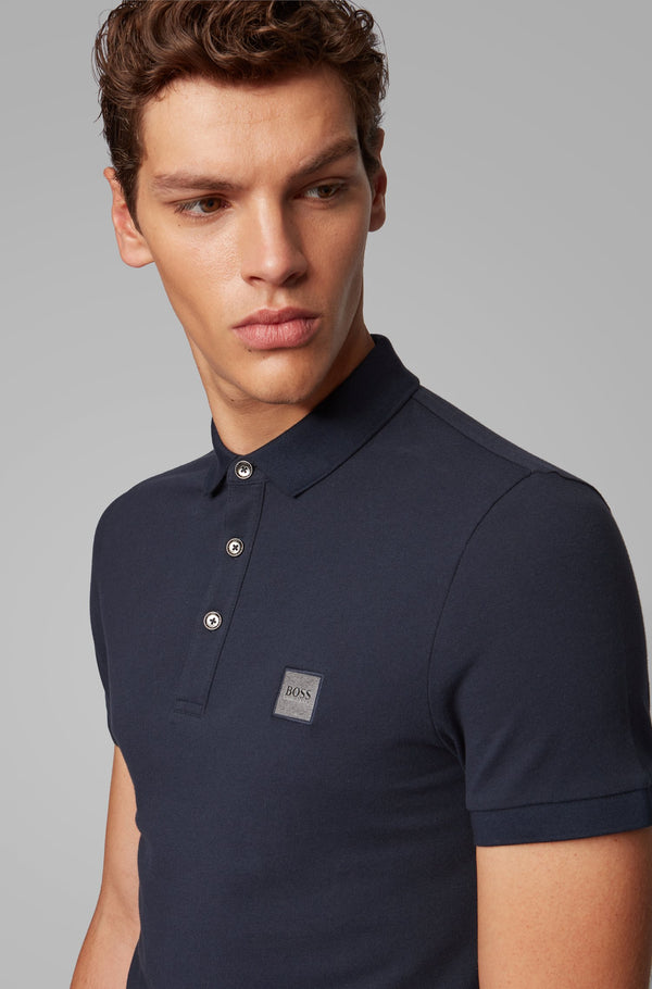 Boss Hugo Boss slim fit en piqué azul en elite addict