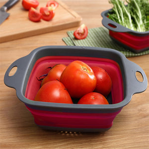 Silicone Foldable Drain Basket Water Filter Strainer Fruit Vegetable Washing Container Kitchen Tools Square Organizer Storage