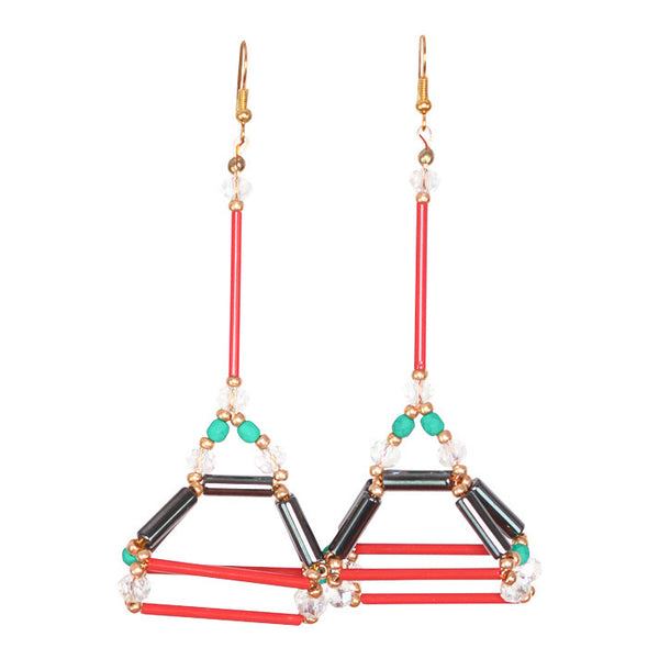 Cey Geo Red Earring - Graced London