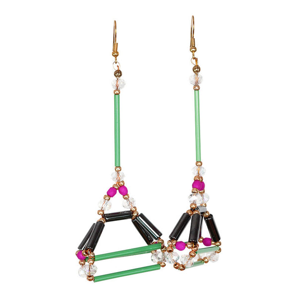 Cey Geo Green Earring - Graced London