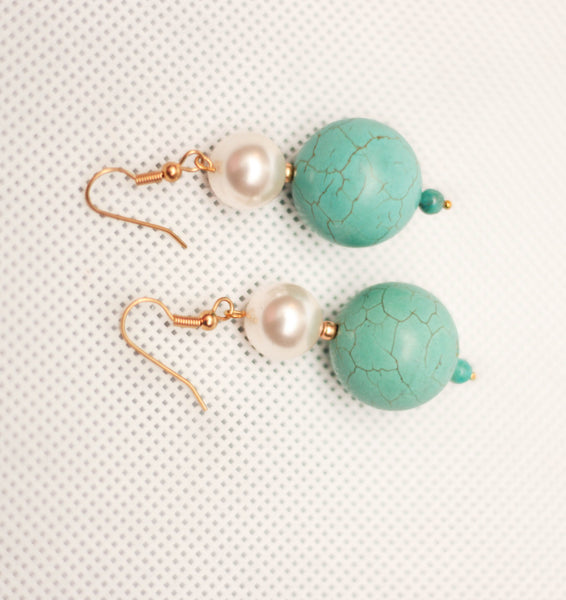 Pearl Turquoise Earring - Graced London