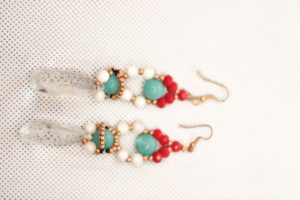 Ore Turquoise Crystal Earrings - Graced London - 1