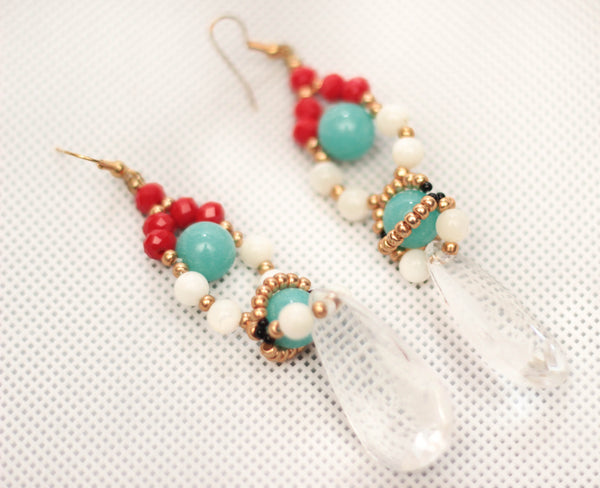 Ore Turquoise Crystal Earrings - Graced London - 3