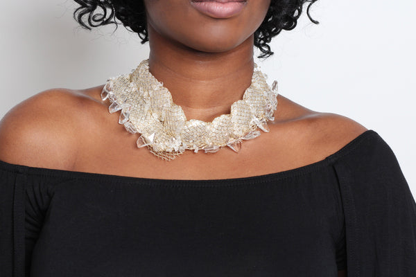 Crystal Gold Fabric Necklace - Graced London - 4