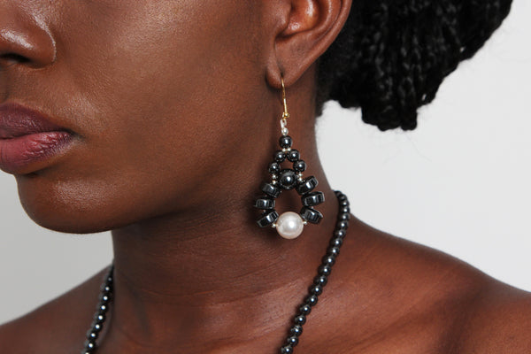 Eni Hematite Earring - Graced London - 1