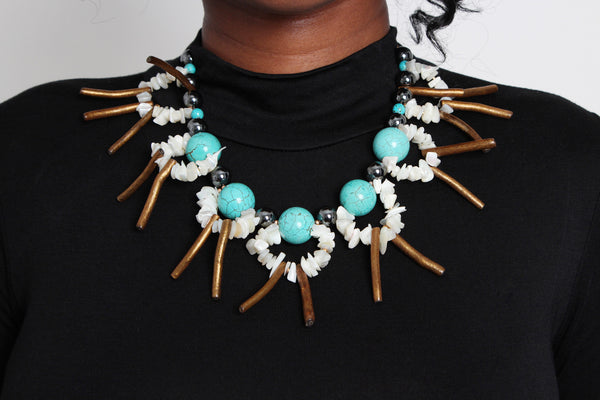 Turquoise Tribal Necklace - Graced London - 2