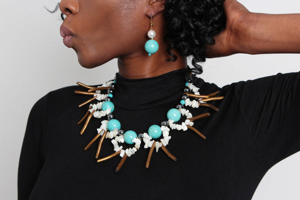 Turquoise Tribal Necklace - Graced London - 1