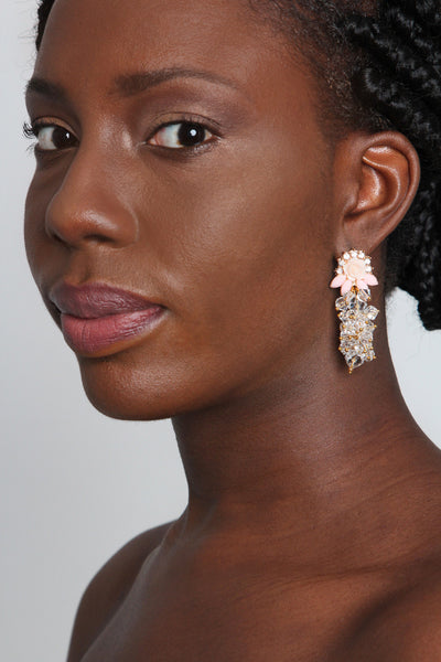 Peach crystal Earring - Graced London - 2